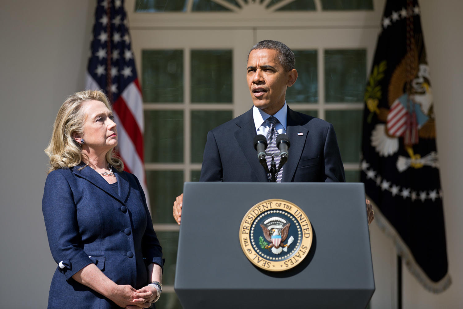 President Barack Obama, with Secretary of State Hillary Rodham Clinton, delivers a statement in the Rose Garden of the White House, Sept. 12, 2012, regarding the attack on the U.S. consulate in Benghazi, Libya. (Official White House Photo by Lawrence Jackson)